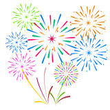 Fireworks Display for New year and all celebration vector illustration Stock Photos