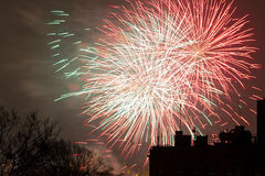 Fireworks display on New Years Eve. In Gdansk, Poland Royalty Free Stock Images