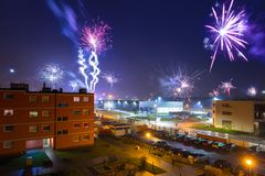 Fireworks display on New Years Eve. In Pruszcz Gdanski, Poland Stock Images