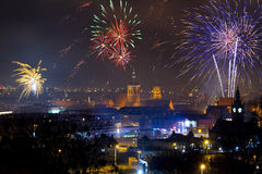 Fireworks display on New Years Eve in Gdansk. Poland Royalty Free Stock Photography