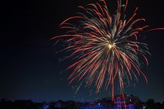 Fireworks Display over Building Royalty Free Stock Photography