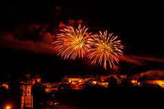 Fireworks display over Burghausen castle Royalty Free Stock Photo