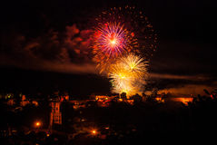 Fireworks display over Burghausen castle Stock Images