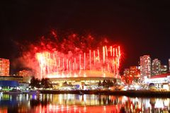 Fireworks Display Over False Creek Royalty Free Stock Images