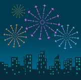 Fireworks Display over the Night City. Vector illustrated background Stock Photo