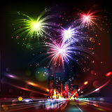 Fireworks display over the night city. Vector illustrated background. Blurred Defocused Lights of Heavy Traffic on a Wet Rainy Stock Images