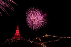 Fireworks display at Phra Nakorn Kiri festival Royalty Free Stock Image