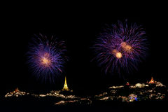Fireworks display at Phra Nakorn Kiri festival Royalty Free Stock Photography