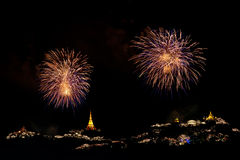 Fireworks display at Phra Nakorn Kiri festival Stock Photos