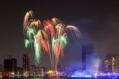 Fireworks display in Sharjah City. United Arab Emirates Royalty Free Stock Photos