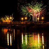 Fireworks display in the show stock photography