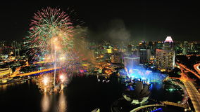 Fireworks display during Singapore National Day. Aerial view of fireworks display with Marina Bay city scape during National Day Parade 2012 Preview on August 04 Royalty Free Stock Images