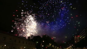 Fireworks display with sound during National Day in Belgium, Brussels stock footage