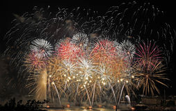 Fireworks display in spectacular colors over lake Geneva Switzerland Royalty Free Stock Photography