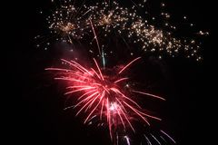 Fireworks display lights up the night sky royalty free stock photos