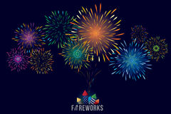 Fireworks display. Vector illustration of colorful fireworks display with explosion of a rocket Royalty Free Stock Photo