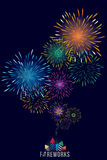 Fireworks display. Vector illustration of colorful fireworks display with explosion of a rocket Royalty Free Stock Photos