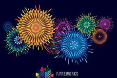Fireworks display. Vector illustration of colorful fireworks display with explosion of a rocket Stock Photos