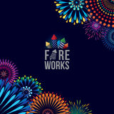 Fireworks display. Vector illustration of colorful fireworks display with explosion of a rocket Stock Photography