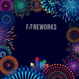 Fireworks display. Vector illustration of colorful fireworks display with explosion of a rocket Royalty Free Stock Image