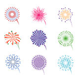 Fireworks display vector set. Pyrotechnics for event celebration new year illustration Royalty Free Stock Images