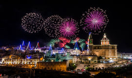 Fireworks display for the village feast of Our lady in Mellieha - Malta Royalty Free Stock Photography