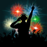 Fireworks Dj Represents Explosion Background And Celebrate Royalty Free Stock Photography