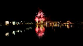 Fireworks at Docklands Melbourne Stock Photography