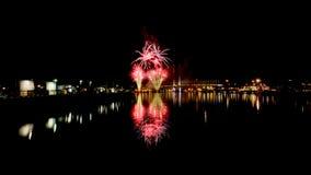 Fireworks at Docklands Melbourne. Fireworks over the yarra river in Melbourne Stock Photography