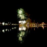 Fireworks at Docklands in Melbourne. Fireworks over the yarra river in Melbourne Royalty Free Stock Images
