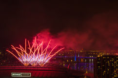 Fireworks at Docklands,New Year's Eve. Record: Dec 31st 2016 Fireworks at Docklands,Melbourne,Australia Stock Photography