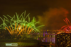 Fireworks at Docklands,New Year's Eve. Record: Dec 31st 2016 Fireworks at Docklands,Melbourne,Australia Stock Photo