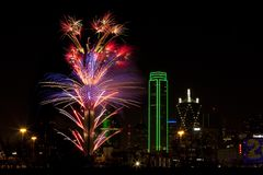 Fireworks - Dallas Texas. Fireworks in downtown Dallas Texas on New Year Eve 2016-17 Night Royalty Free Stock Image
