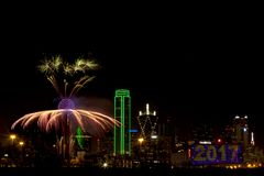 Fireworks - Dallas Texas. Fireworks in downtown Dallas Texas on New Year Eve 2016-17 Night Stock Photo