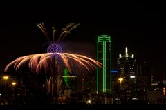 Fireworks - Dallas Texas. Fireworks in downtown Dallas Texas on New Year Eve 2016-17 Night Stock Images