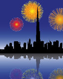 Fireworks in dubai. Fireworks with skyline in dubai Stock Image
