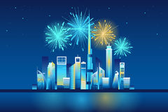 Fireworks in Dubai city Stock Photography