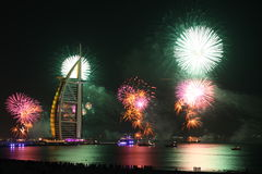 Fireworks in Dubai. New Year's Eve fireworks at the Burj Al Arab in Dubai, United Arab Emirates royalty free stock photo