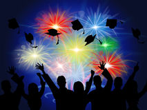 Fireworks Education Shows New Grad And Achievement. Graduation Fireworks Representing Explosion Background And Diploma Stock Image