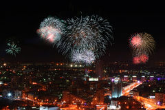 Fireworks in Ekaterinburg, Russia Stock Images