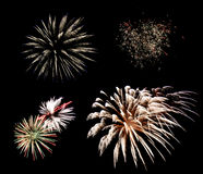 Fireworks Elements. Four fireworks elements isolated on black sky and from each other to be used separately or together Royalty Free Stock Image