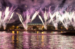 Fireworks on the embankment of the Moskva River Royalty Free Stock Image