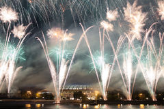Fireworks on the embankment of the Moskva River Stock Photography