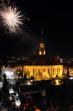 Fireworks at the end of the Hungarian Cultural Days of Cluj City Stock Images