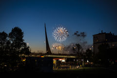 Fireworks in the evening moscow Royalty Free Stock Image