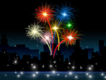 Fireworks Evening Shows Explosion Background And Buildings Royalty Free Stock Photos