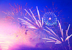 Fireworks in evening sky. Beautiful fireworks in evening sky stock photography
