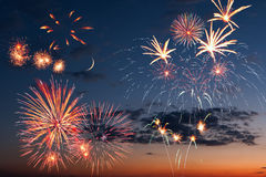 Fireworks in the evening sky Stock Photos