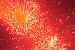 Fireworks in the evening sky. Royalty Free Stock Photo