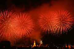 Fireworks Exploding. At Bangkok, Thailand royalty free stock images
